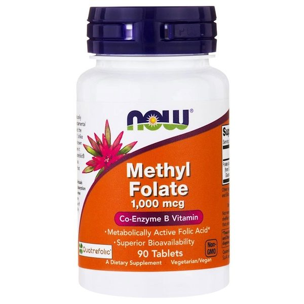 1 56 600x600 - Methyl Folate- 1.000 mcg (90 tablets) - Now Foods