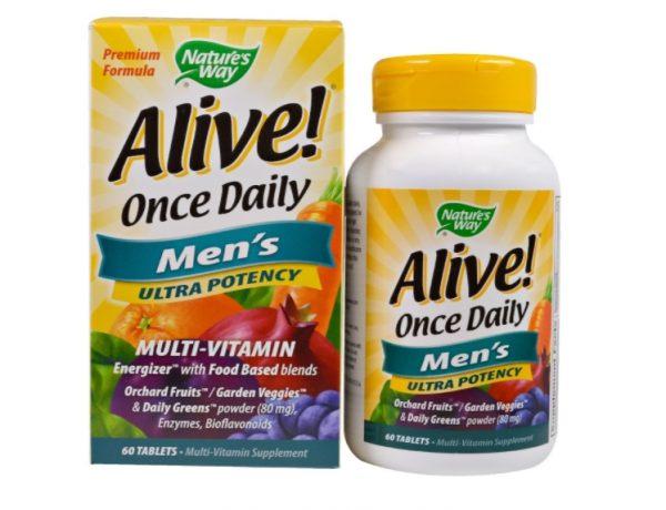 alive multi men 1 600x460 - Alive! Once Daily Men's Multi-Vitamin (60 Tablets) - Nature's Way