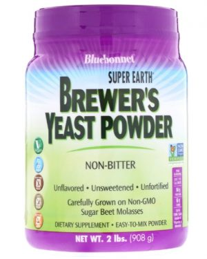 bluebonnet yeast 1 300x375 - Super Earth Brewer's Yeast Unflavored (908 g) - Bluebonnet Nutrition