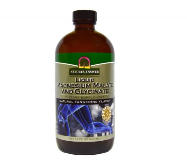 magnesium malate glycinate 1 600x515 - Liquid Magnesium Malate and Glycinate, Natural Tangerine Flavor (480 ml) - Nature's Answer