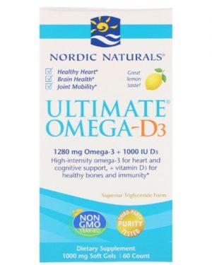 omega 3 nordic naturals 1 300x375 - Ultimate Omega-D3 Lemon 1000 mg (60 Soft Gels) - Nordic Naturals