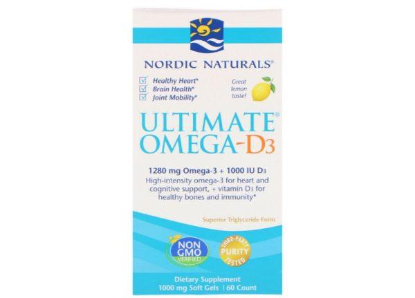 omega 3 nordic naturals 1 600x431 - Ultimate Omega-D3 Lemon 1000 mg (60 Soft Gels) - Nordic Naturals