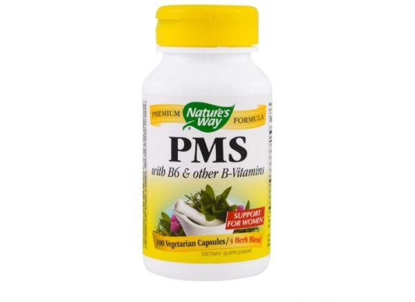 pms natures way 1 600x437 - PMS with B6 and Other B-Vitamins (100 Capsules) - Nature's Way