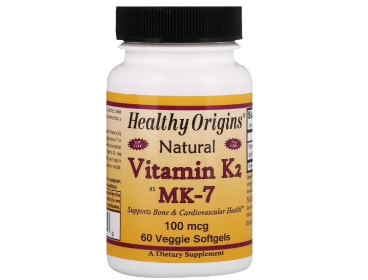 vitamin k 10 - Natural Vitamin K2 spil MK-7 100 mcg (60 Veggie Softgels) - Healthy Origins