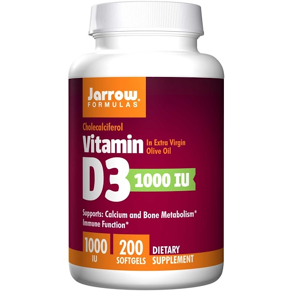 6 25 - Vitamin D3 1000 IU (200 softgels) - Jarrow Formulas