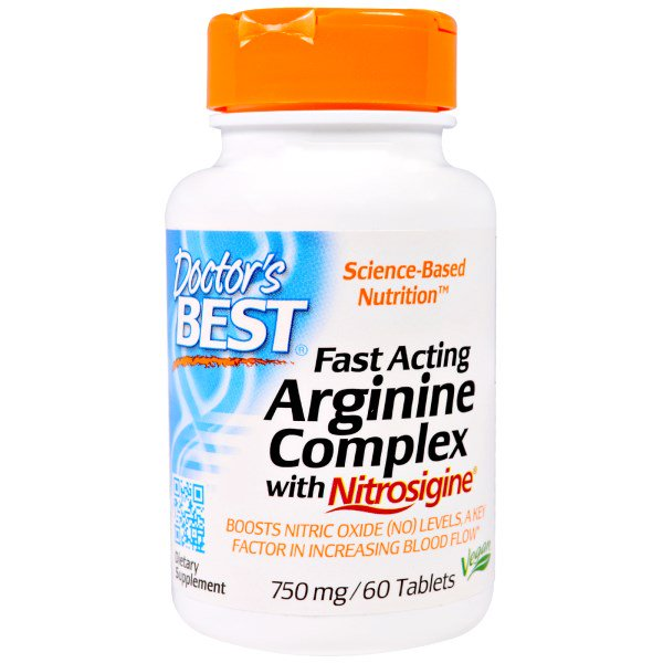DRB 00406 1 - Fast Acting Arginine Complex with Nitrosigine, 750 mg (60 Tablets) - Doctor's Best