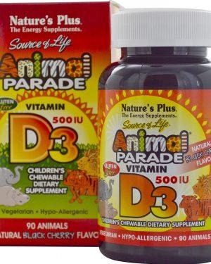 NAP 29950 4 300x375 - Vitamin D3, Natural Black Cherry Flavor, 500 IU (90 Animals) - Nature's Plus