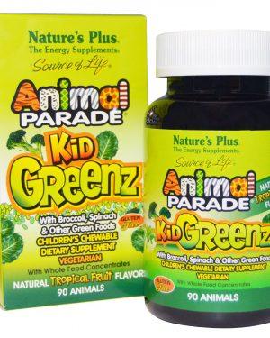 NAP 29968 6 1 300x375 - Kid Greenz, Natural Tropical Fruit Flavor (90 Animals) - Nature's Plus
