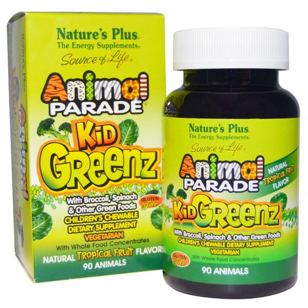 NAP 29968 6 1 600x600 - Kid Greenz, Natural Tropical Fruit Flavor (90 Animals) - Nature's Plus