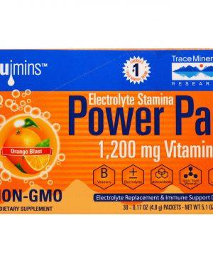 TMR 00053 2 1 300x375 - Electrolyte Stamina, Power Pak, Orange Blast (30 Packets, 4.8 g Each) - Trace Minerals Research