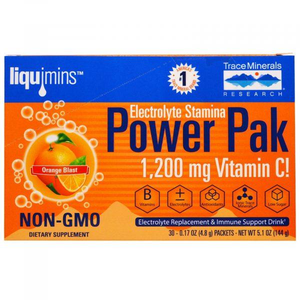 TMR 00053 2 1 600x600 - Electrolyte Stamina, Power Pak, Orange Blast (30 Packets, 4.8 g Each) - Trace Minerals Research