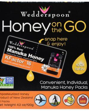 WSP 02031 3 1 300x375 - Honey On The Go KFactor 16 (24 Packs, 5 g Each) - Wedderspoon Organic