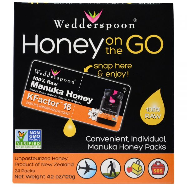 WSP 02031 3 1 600x600 - Honey On The Go KFactor 16 (24 Packs, 5 g Each) - Wedderspoon Organic