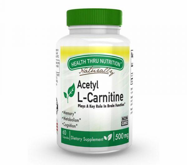 acetyl l carnitine 500mg 60 capsules 48 600x528 - Acetyl L-Carnitine 500mg (non-GMO) (60 Vegicaps) - Health Thru Nutrition