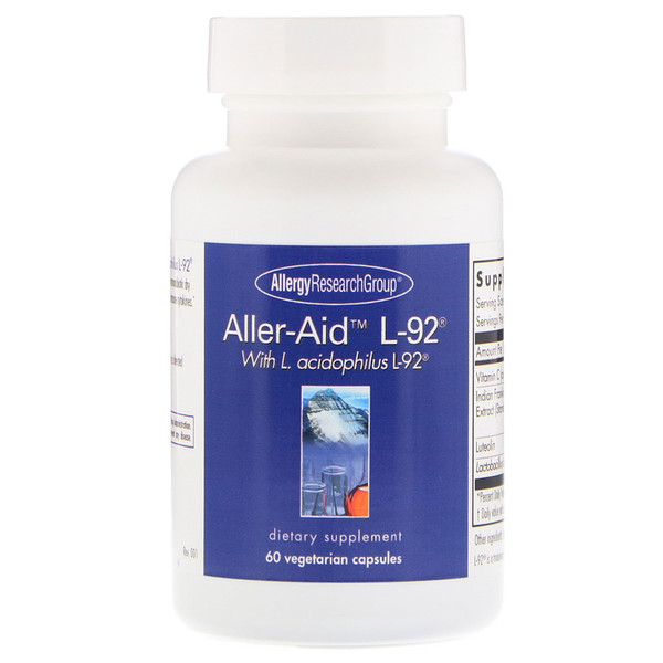allergy alleraid - Aller-Aid L-92 with L. Acidophilus L-92 60 Vegetarian Capsules - Allergy Research Group
