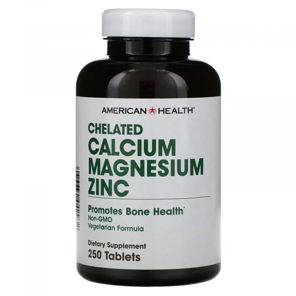 americanhealth chelatedmagnesium 1 600x600 - Chelated Calcium Magnesium Zinc (250 tablets) - American Health