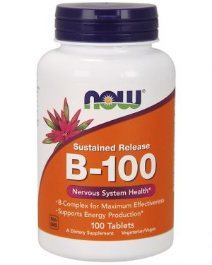 b 100 sustained release 100 tablets   now foods1 300x375 - B-100 Sustained Release (100 tablets) - Now Foods