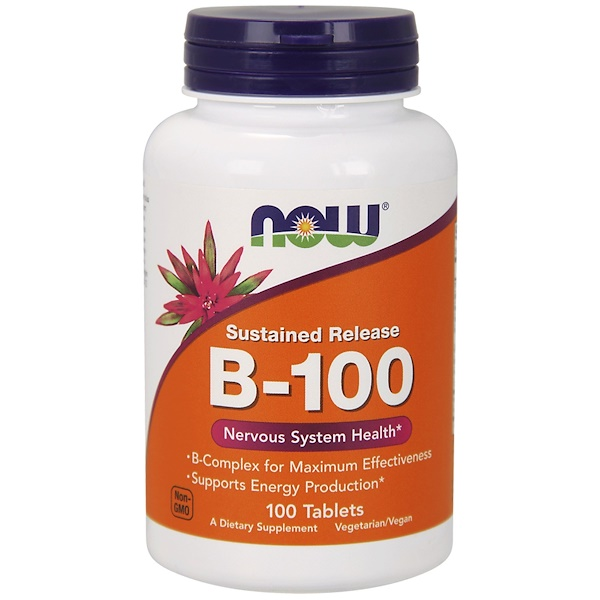 b 100 sustained release 100 tablets   now foods1 - B-100 Sustained Release (100 tablets) - Now Foods