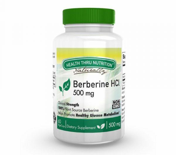 berberine hcl 500mg 60 vegecaps 1 600x528 - Berberine HCl 500 mg (non-GMO) (60 Vegicaps) - Health Thru Nutrition