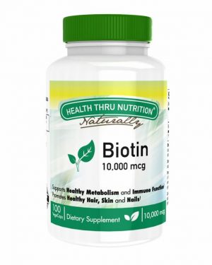 biotin 10 000 mcg 100 vege capsules extra strength for hair skin and nails 3 300x375 - Biotin 10.000 mcg (100 Vegicaps) - Health Thru Nutrition