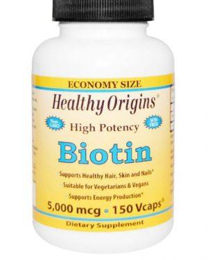 biotin healthy origins 1 300x375 - Biotine, Hoge Dosering, 5000 mcg (150 vegetarische capsules) - Healthy Origins