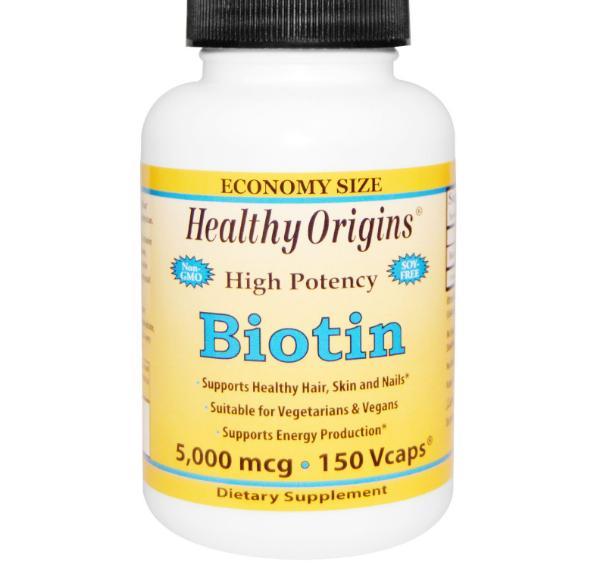biotin healthy origins 1 - Biotine, Hoge Dosering, 5000 mcg (150 vegetarische capsules) - Healthy Origins