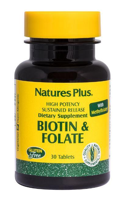 biotin folic acid 30 tablets   nature s plus1 - Biotin & Folic Acid, 30 Tablets - Nature's Plus