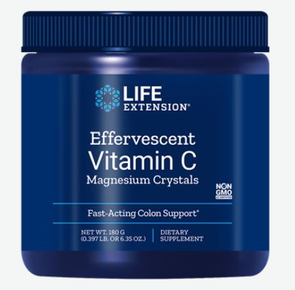 bruisende vitamine c   magnesium kristallen 180g   life extension - Bruisende vitamine c - magnesium kristallen 180g - Life Extension