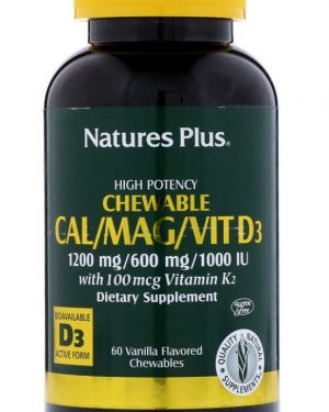 calmagvit d3 vanilla flavored 60 chewable tablets   nature s plus1 300x375 - Cal/Mag/Vit D3 Vanilla Flavored (60 Chewable Tablets) - Nature's Plus
