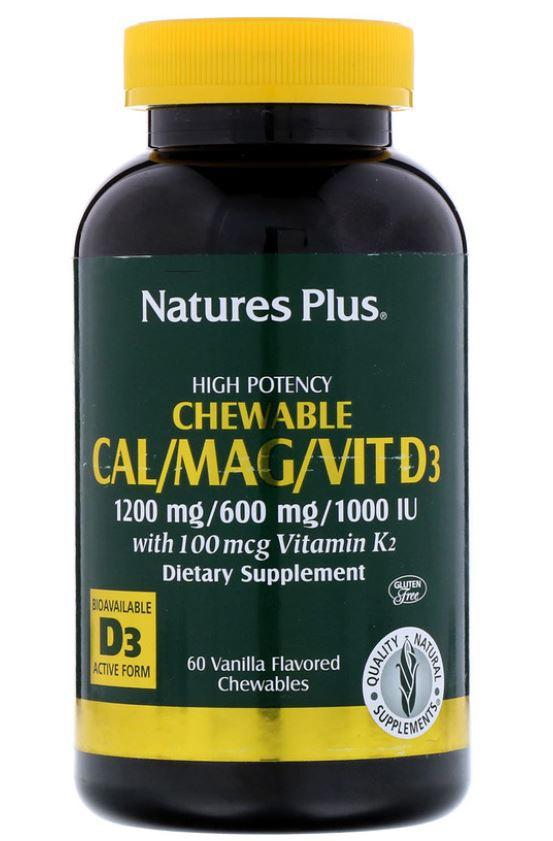 calmagvit d3 vanilla flavored 60 chewable tablets   nature s plus1 - Cal/Mag/Vit D3 Vanilla Flavored (60 Chewable Tablets) - Nature's Plus