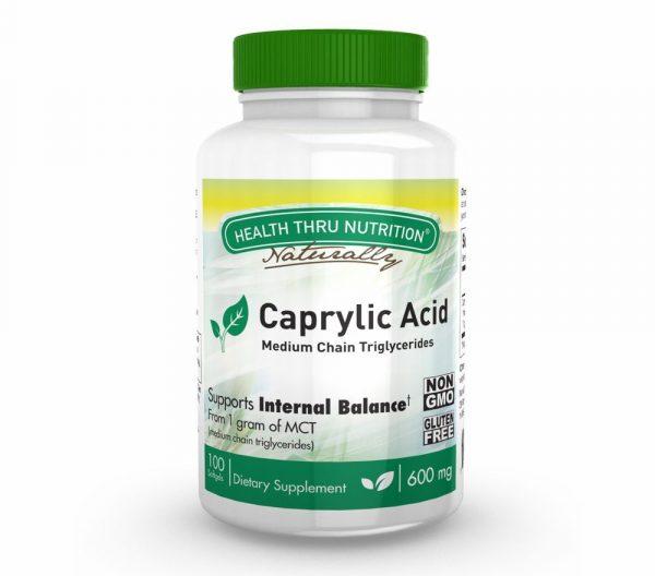 caprylic acid 600mg 100 softgels medium chain triglycerides 28 600x528 - Caprylic Acid 600 mg (non-GMO) (100 Softgels) - Health Thru Nutrition