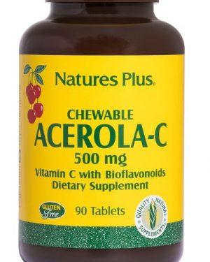 chewable acerola c vitamin c with bioflavonoids 500 mg 90 tablets   nature s plus1 300x375 - Chewable Acerola-C Vitamin C with Bioflavonoids 500 mg (90 Tablets) - Nature's Plus