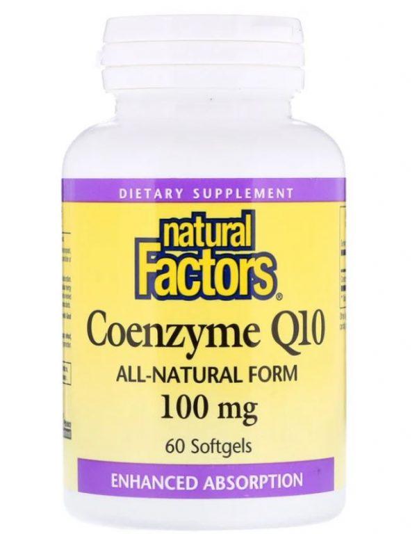 coenzyme q10  100 mg 60 softgels   natural factors 1 600x768 - Coenzyme Q10- 100 mg (60 softgels) - Natural Factors