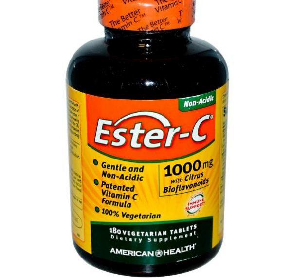 ester c american health 1 600x570 - Ester-C Vitamine C met Citrus Bioflavonoiden (180 Veggie Tablets) - American Health