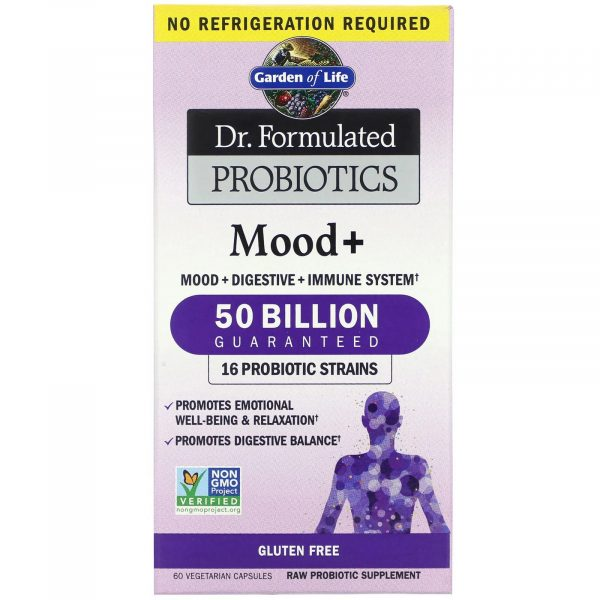 gardenlife mood 60 1 600x600 - Dr. Formulated Probiotics Mood+ (60 Vegetarian Capsules) - Garden of Life