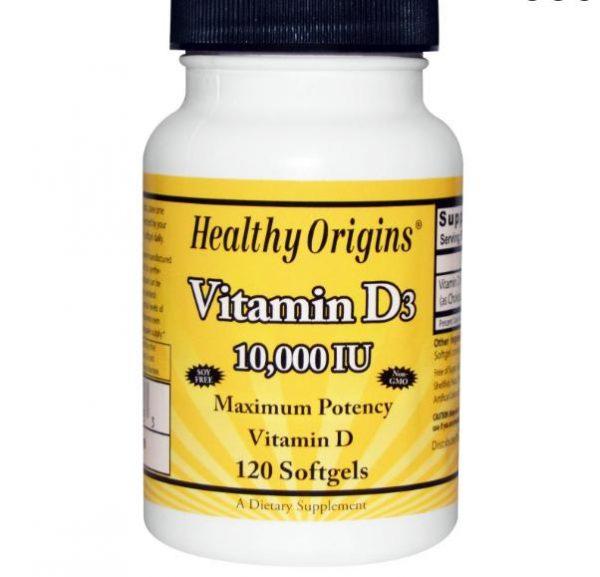 healthy origins 10000 1 600x577 - Vitamine D3, 10.000 IE (120 softgels) - Healthy Origins