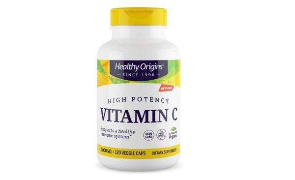 healthyorigins vitc 120 1 600x366 - Vitamin C 1000 mg (Non-GMO L-Ascorbic Acid) 120 Vcaps - Healthy Origins