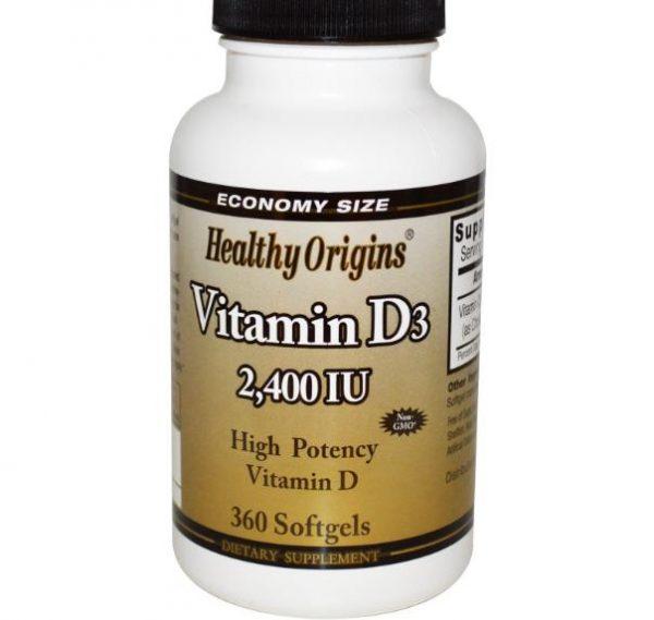 healtthy origins 2400ie 1 600x569 - Vitamine D3 2400 IE (360 Softgels) - Healthy Origins
