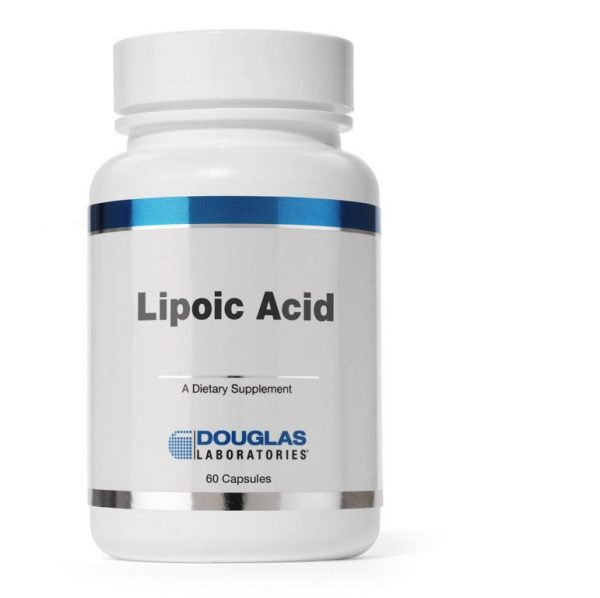 lipoic acid 100 mg 60 capsules douglas laboratories label 600x598 - Liponzuur (60 capsules)- Douglas Laboratories