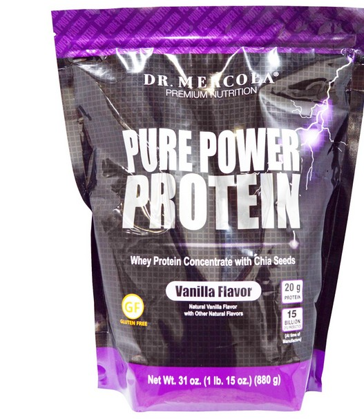 mercola pure power protein vanilla 1 - Pure Power Proteine, Vanilla smaak (880 g) - Dr. Mercola