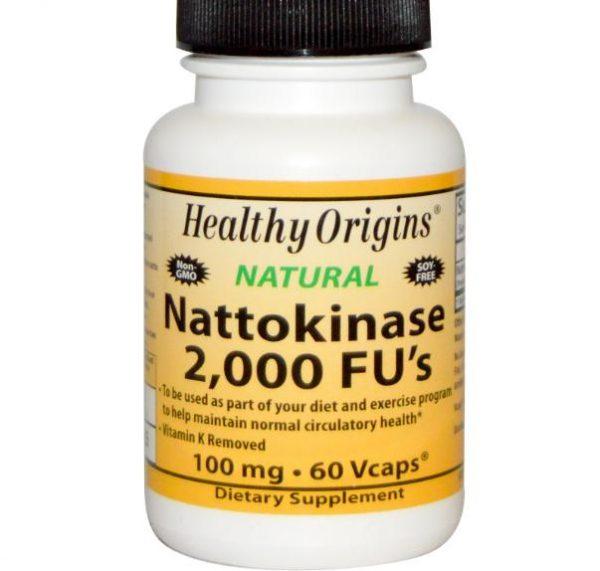 nattokinase healthy origins 1 600x571 - Nattokinase, 2000 FU's, 100 mg (60 vegetarische capsules) - Healthy Origins
