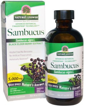 nature s answer sambucus black elder berry extract 4 fl oz 120 ml 300x375 - Sambucus, Black Elder Berry (vlierbessen) Extract (120 ml) - Nature's Answer