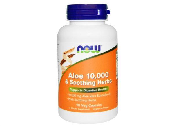 now foods aloe 1 600x436 - Aloe 10.000 & Soothing Herbs (90 Vegetarian Capsules) - Now Foods