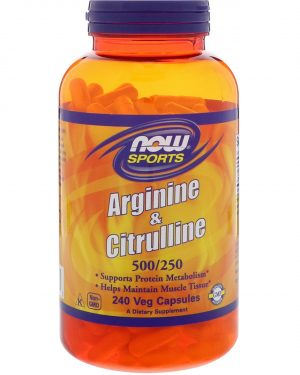 now foods arginine citrul 1 300x375 - Arginine & Citrulline- 500/250 mg (240 Vegetarian Capsules) - Now Foods
