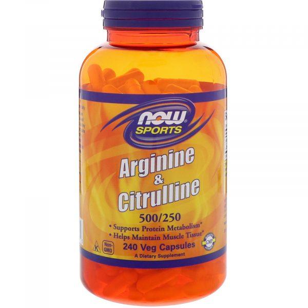 now foods arginine citrul 1 600x600 - Arginine & Citrulline- 500/250 mg (240 Vegetarian Capsules) - Now Foods