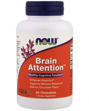now foods brain attention 1 300x375 - Brain Attention- Natural Chocolate Flavor (60 chewable tablets) - Now Foods