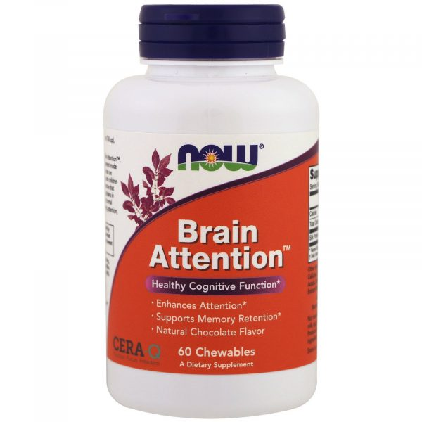 now foods brain attention 1 600x600 - Brain Attention- Natural Chocolate Flavor (60 chewable tablets) - Now Foods