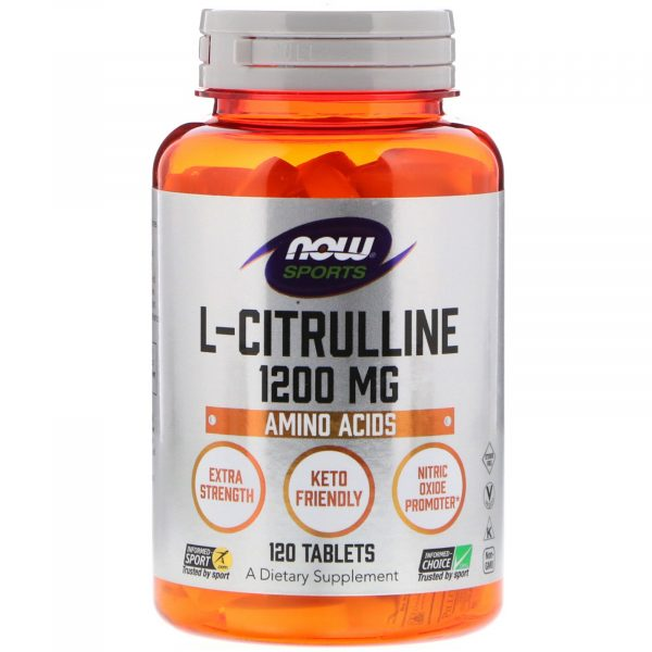 now foods citrulline 1 600x600 - L-Citrulline - Extra Strength 1.200 mg (120 tablets) - Now Foods