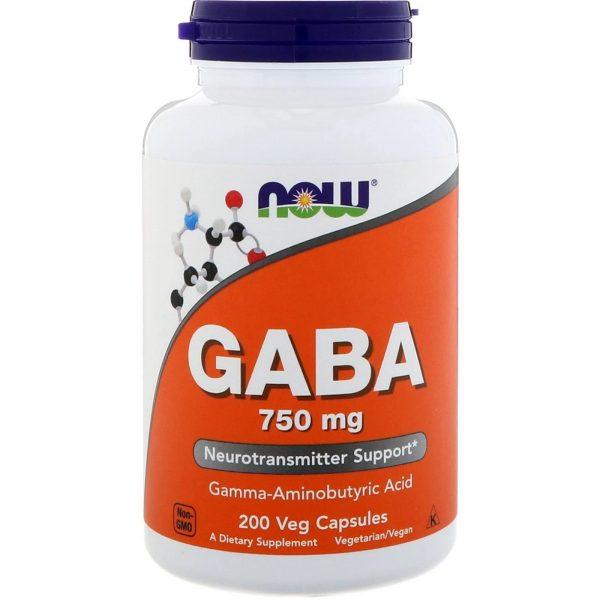 now foods gaba 750 1 600x600 - GABA- 750 mg (200 Vegetarian Capsules) - Now Foods
