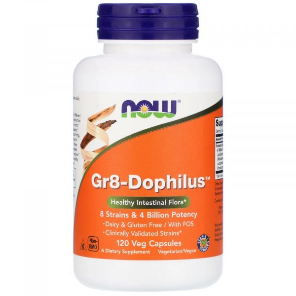 now foods gr8 dophilus 1 600x600 - Gr8-Dophilus (120 Vegetarian Capsules) - Now Foods